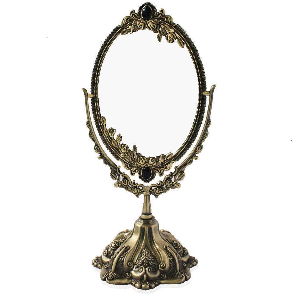 Vintage Double Face Retro Bronze Alloy Metal Table Makeup Dresser Desktop Decorative Mirror Embossed Frame Makeup Tool (Bronze)
