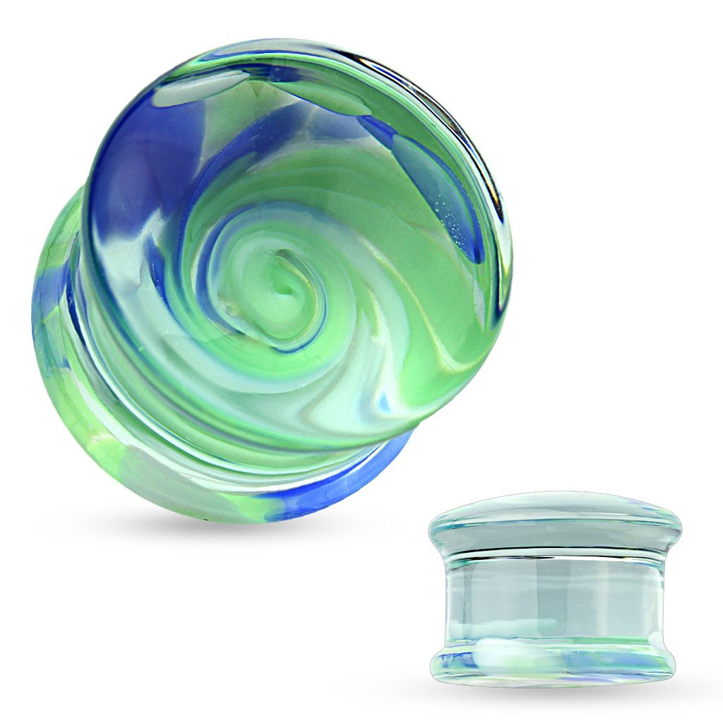 Blue and Green Swirl Pyrex Glass Double Flared Ear Plugs - Sold as a Pair ((12mm) 1/2'')