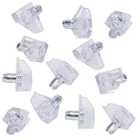 FURNICA Soportes de estanter/ía con varilla de acero Plastique Transparent - 40pzas