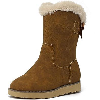 9d23294c0e3bc ANJOUFEMME Chaussures Bottes de Neige Hiver pour Fille - Bottes Fille en  Cuir Artificiel