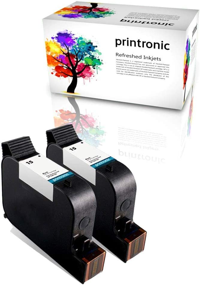 Printronic Remanufactured Ink Cartridge Replacement for HP 15 C6615DN (2 Black) 2 Pack