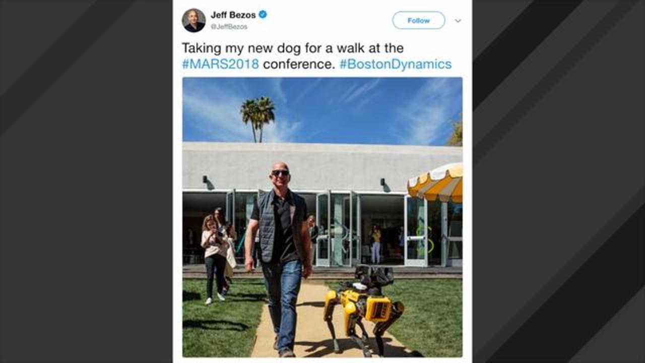 Amazon S Jeff Bezos Takes A Stroll With Boston Dynamics Robot Dog