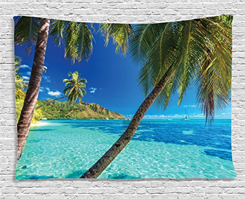Tropical Living Room - Ambesonne Ocean Decor Tapestry by, Image of a Tropical Island with Palm Trees and Bright Sea Beach Theme Print Decor, Wall Hanging for Bedroom Living Room Dorm, 60 W X 40 L Inch, Turquoise and Blue
