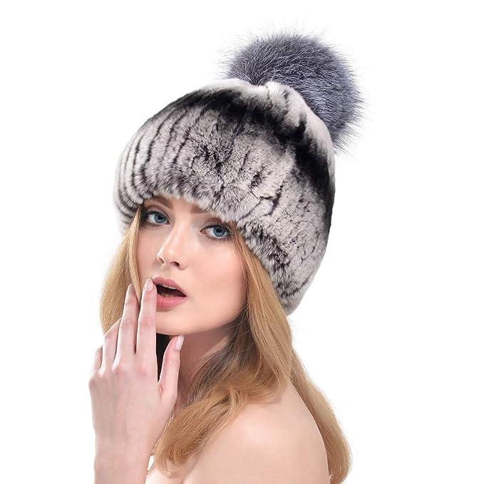 VEMOLLA Cappello Invernale per Donne in Pelliccia di Coniglio Rex con Pon  Pon in Pelliccia di Volpe grigio e nero  Amazon.it  Abbigliamento 6a6a2bc74cac