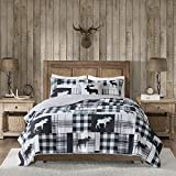 4 Piece Blue Plaid KingCal King Quilt Set, White Cabin Lodge Hunting Theme Bedding, Animal Print Moose Striped Checkered Pattern Patchwork Lumberjack Rugby Stripes Tartan Madras, Polyester