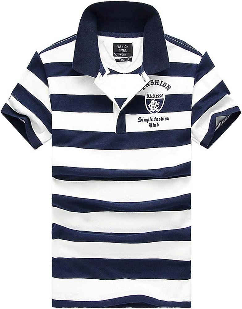 QUGKOP& 92% Cotton Camisa Men Polo Shirt 2019 Casual Striped Slim ...
