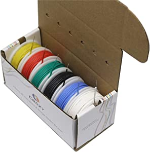 Silicone wire Kit CBAZY Electric wire Hook up Wire Kit (Solid Wire) 24 Gauge 6 colors 26.2 feet Each Wires 24 AWG