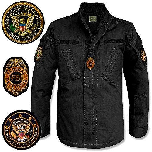 giacca militare nera americana, camicia FBI