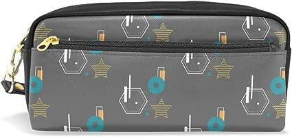 Estuche geométrico de Bauhaus, con compartimentos, cremallera, para niños, niñas, cosméticos, bolsa de maquillaje de cuero: Amazon.es: Oficina y papelería