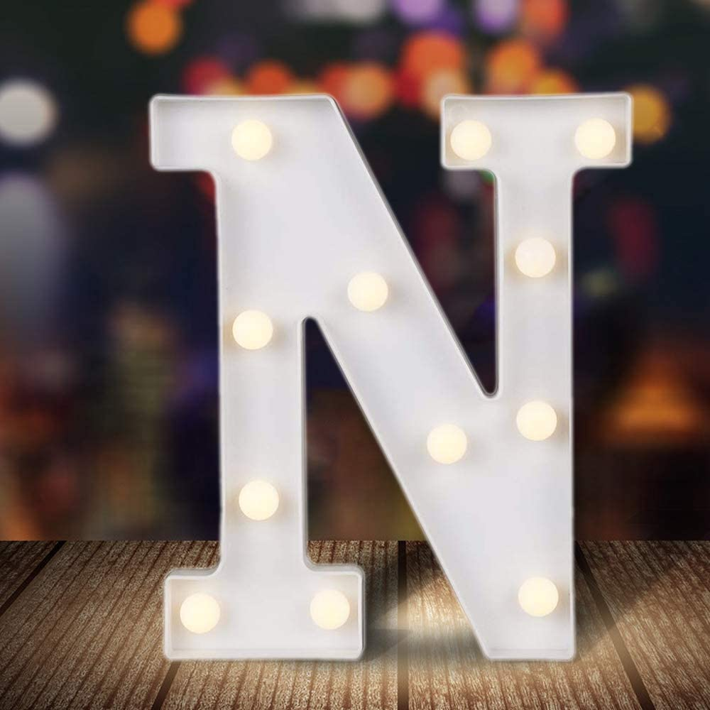 ODISTAR LED Light Up Marquee Letters, Battery Powered Sign Letter 26 Alphabet with Lights for Wedding Engagement Birthday Party Table Decoration bar Christmas Night Home,9'', White(N)