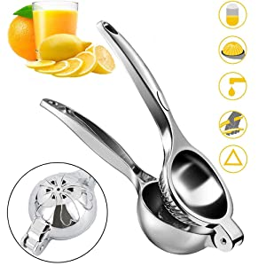 Lemon Squeezer, DZY Stainless Steel Manual Lime Citrus Orange Fruit Press Juicer with Premium Quality Heavy Duty Metal Squeezer Bowl (7CM Bowl Diameter)