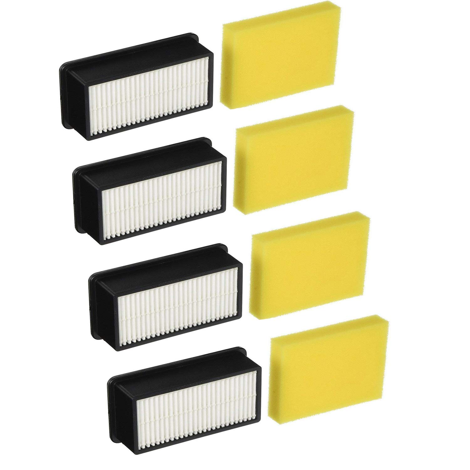 Gotty 4 Pack 1008 Pre & Post Motor Replacement Filter Kit for Bissell CleanView Upright Vacuums 9595A, 1819, 1822, 1825, 1831, 1330, 1332. 4 Pre-Motor Foam Filter and 4 Post-Motor Filter by Gotty