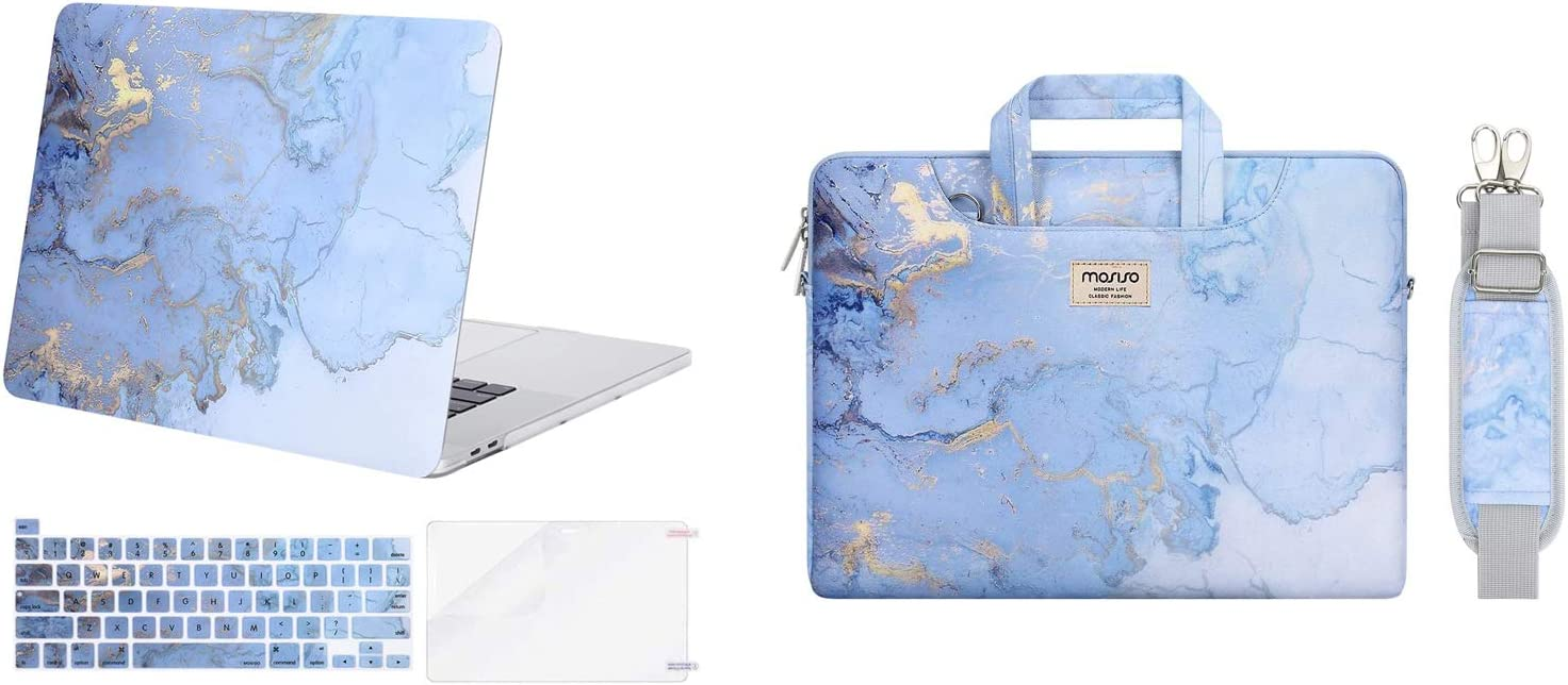 MOSISO Plastic Watercolor Marble Laptop Shoulder Bag & Hard Shell Case Compatible with MacBook Pro 16 inch Case 2019 Release A2141 with Touch Bar & Touch ID, Blue