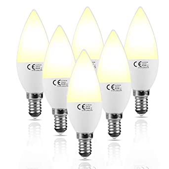 Lampaous® - Bombillas LED tipo vela E14, 7 W, 3.000 K luz blanca cálida- Bombilla LED ...