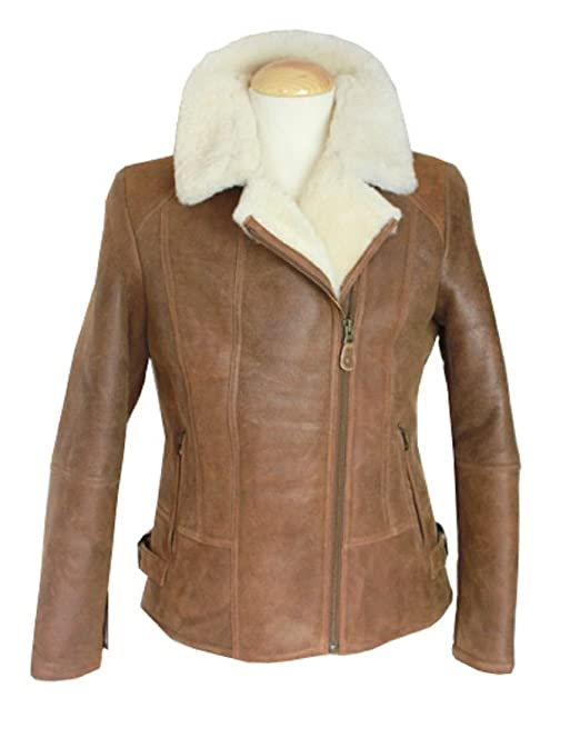 Sheepskin World - Chaqueta - aviador - para mujer marrón ...