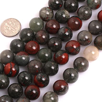 GEM-inside Natural Africa Bloodstone Gemstone Loose Beads 12mm Round  Crystal Energy Stone Power Beads for Jewelry Making 15