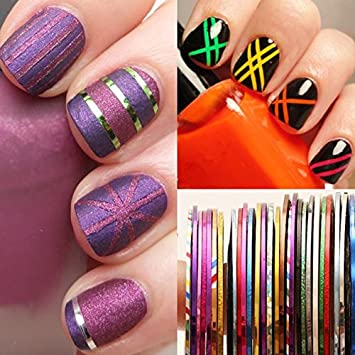 Amazon.com : Nail Art Tape - 30 Pieces 0.5mm Nail Striping Tape Set ...