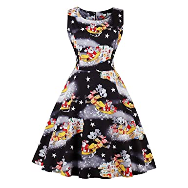 fdf1cfc9595 Lover-Beauty Women Swing Skater Dress Christmas Print Sleeveless Evening Party  Dresses  Amazon.co.uk  Clothing