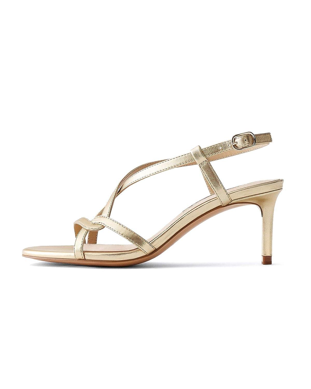284d339749928 Uterque Women's Gold Leather Strap mid Heel Sandals 4054/051: Amazon ...