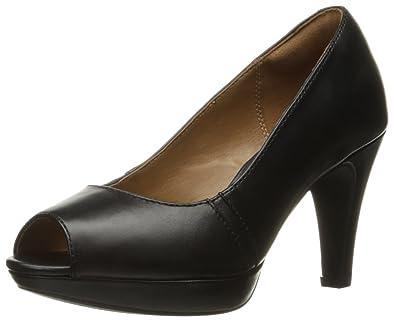 Clarks Women's Narine Rowe Platform Pump, Black Leather, ...
