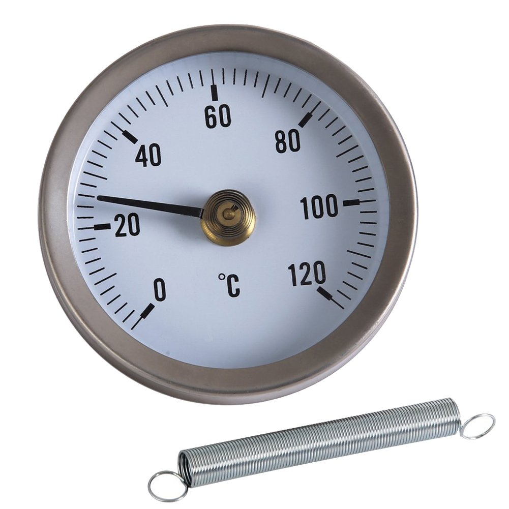 MMdex Pipe Thermometer / Thermo Water Oil Temperature Gauge with Clip-on Spring, 0x2103; - 120x2103; Temp Range, Diameter 63mm / 2.48' Diameter 63mm / 2.48 COMINHKPR99727