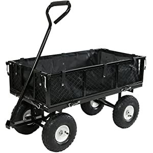 Sunnydaze Utility Steel Garden Cart with Liner, Outdoor Lawn Wagon with Removable Sides, Heavy-Duty 400 Pound Capacity, Black