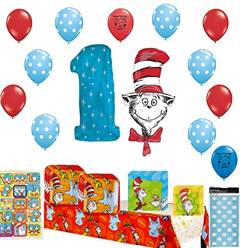 Dr. Seuss Happy First Birthday Party Supply and Balloon (Dr Seuss 1st Birthday)
