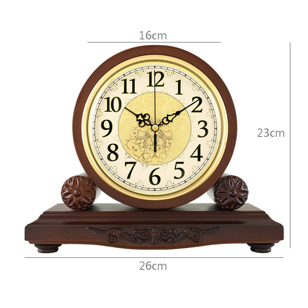 HAOFAY Solid Wood Battery Operation, No Ticking, Shelf Clock Chronograph Clock 9'' × 10.2'' × 3.5'' , Maroon ( Color : Not timekeeping ) by CLOCK (Image #2)