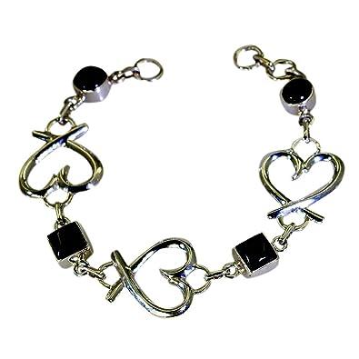 Gemsonclick Genuine Black Onyx Silver Bond Touch Bracelets For Women