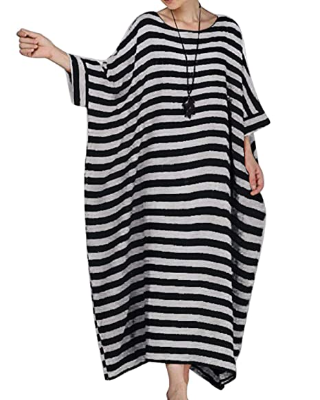 Jacansi Womens Linen Cotton Stripes Plus Size Short Sleeve Kaftan Maxi  Dress S-5XL