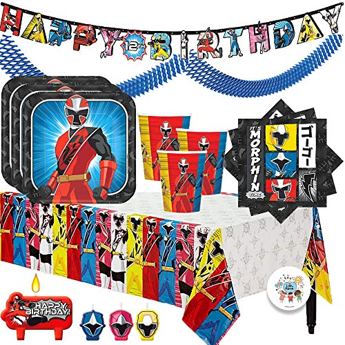 The Ultimate Power Rangers Ninja Steel Birthday Party Supplies Pack For 16 With Plates, Cups, Napkins, Tablecover, Candles, Garland, Add An Age Birthday Banner, and Exclusive Pin By Another Dream -