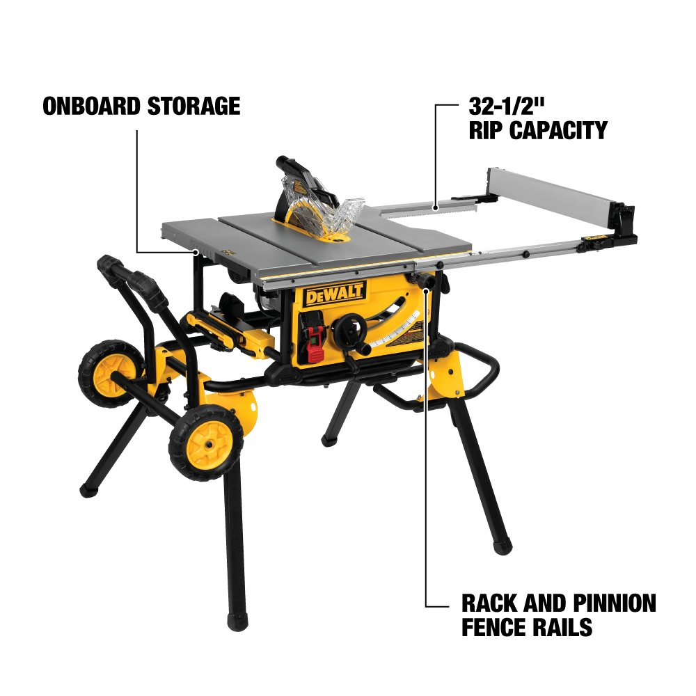Dewalt Dwe7491rs 10 Inch Jobsite Table Saw With 32 1 2 Rip Wiring Diagram 120v Capacity And Rolling Stand Power Saws