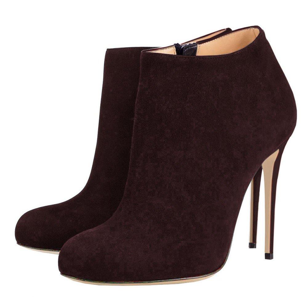 VOCOSI Women's Round Toe Suede Dark Brown Ankle Boots High Heels Classic Dress Booties Suede-Dark Brown 9 US