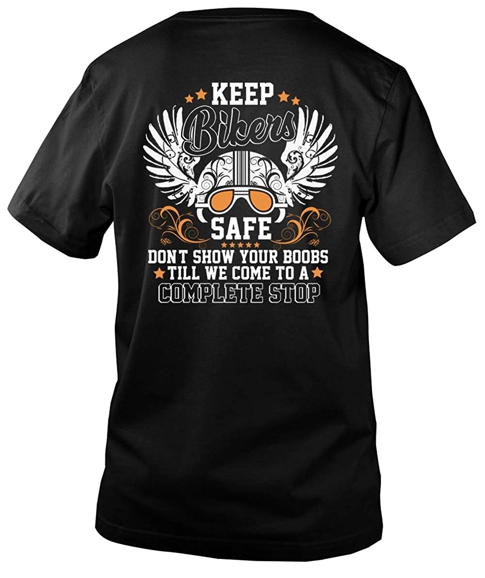 Amazon.com: Keep Bikers Safe Don't Show Your Boobs Men's V-Neck Tee, I Love  Bikers T Shirt: Clothing