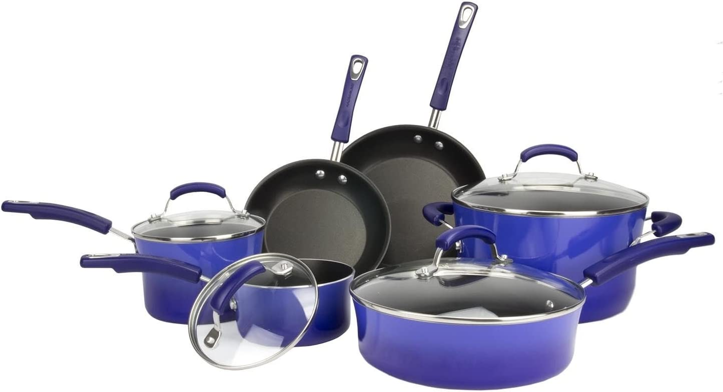 NEW Rachael Ray 10-piece Porcelain Enamel Cookware Set Nonstick Pans Pots – Rachael Ray Hard-anodized 10 Piece Cookware Set Fennel