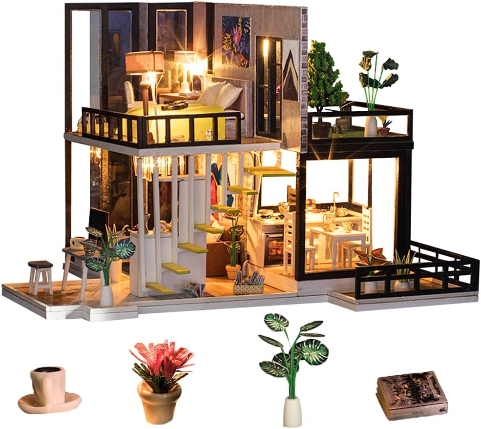 Spilay DIY Miniature Dollhouse Wooden Furniture Kit,Handmade Mini Modern Villa Model withDust Cover & Music Box ,1:24 Scale Creative Doll House Toys for Adult Teenager Idea Gift(September Fores)