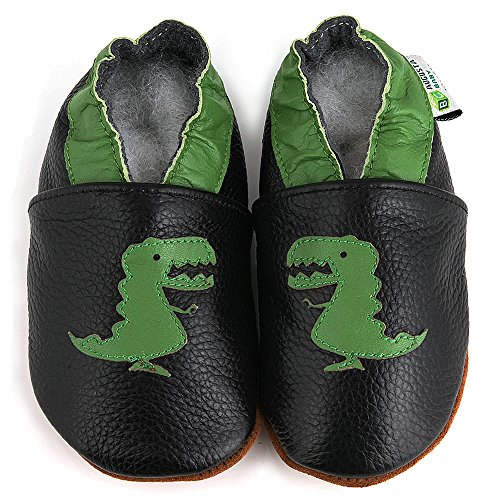 AUGUSTA BABY Baby Boys Girls First Walker Soft Sole Leather Baby Shoes - Genuine Leather T-Rex