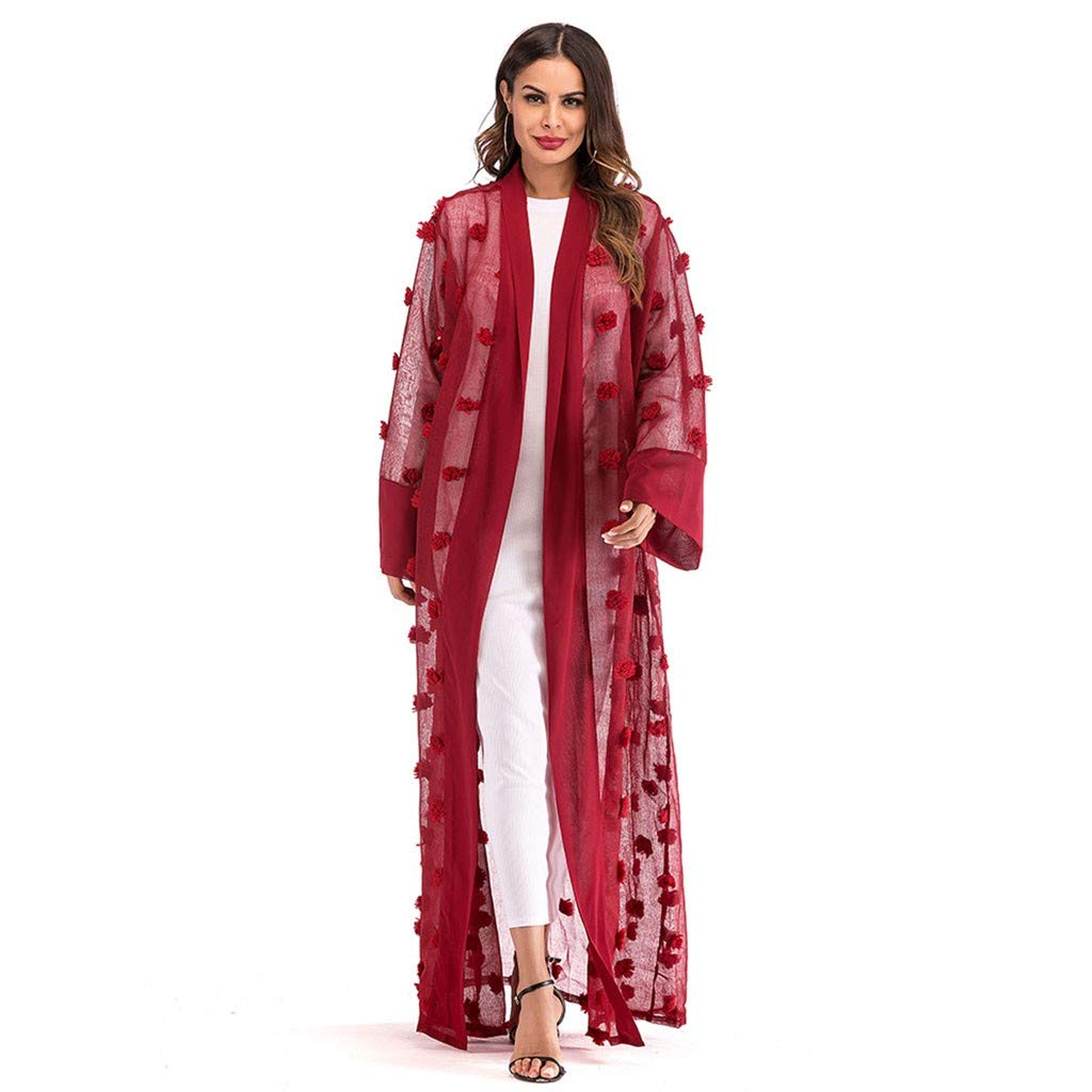 39d07a807d2 Amazon.com: Women Summer Casual Long Sleeve Cardigan, Ethnic Long Maxi Dress  Beach Coat Muslim Middle East Bandage Kaftan Robes: Baby