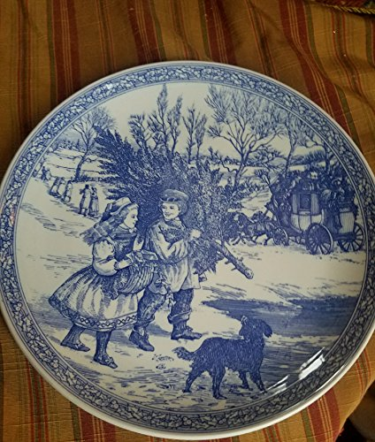 Spode Vintage Plate, Blue Room Collection Christmas Plate, Number One in a series featuring illustrations inspired by early Victorian Drawings. Never used and kept covered in hutch drawer for 20 yrs.
