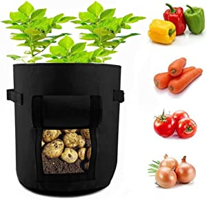SO SIMPOK 7 Gallon Potato Grow Bags Plant Pots Aeration Fabric Raised Garden Bed Growing Planting Containers with Handles
