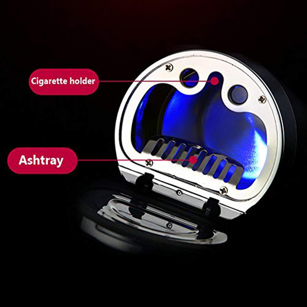 ACGN Car Smokeless Ashtray,Stainless Led Car Ashtray with Lid and Blue Light Holder for Car Black