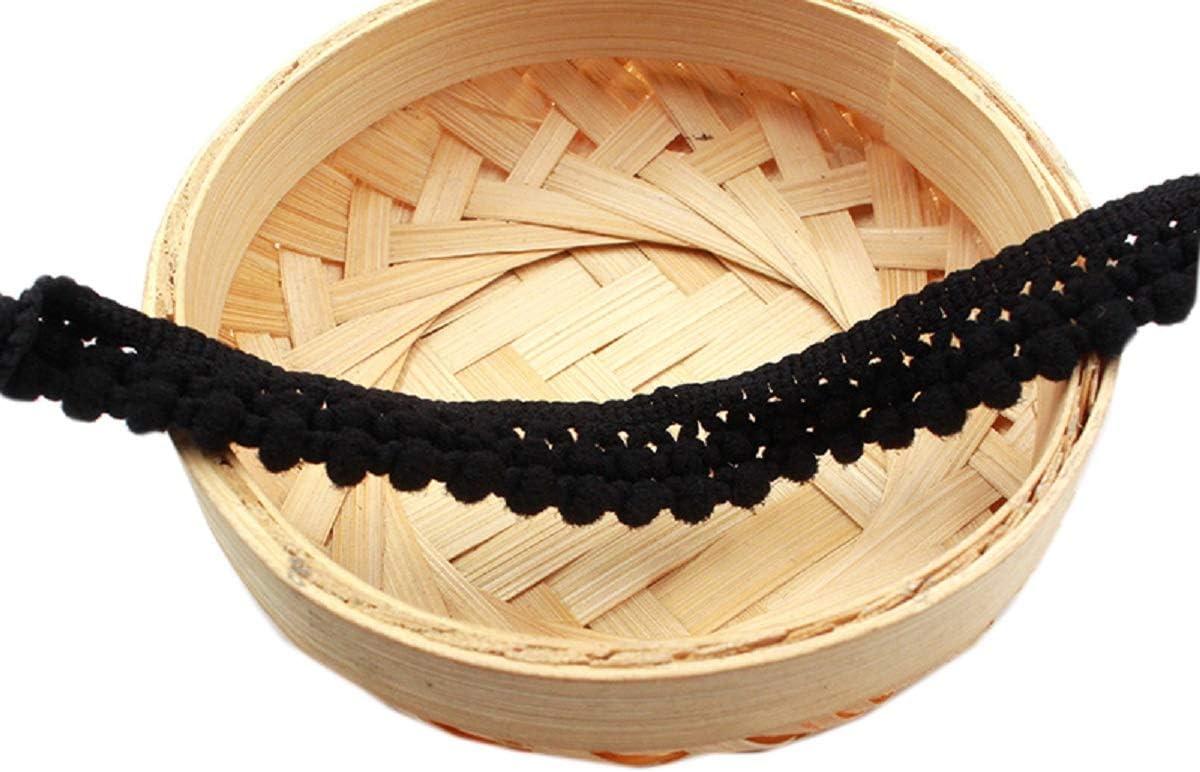 Deep Purple Yalulu 20 Yards New Double Row Mini Pompom Trim Fringe Ribbon Pom Pom Crafts Lace DIY Sewing Accessories Decoration