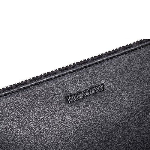 hiscow Metall Reißverschluss Geldbörse Tasche mit Große Cash-fach–italienischem Kalbsleder