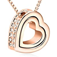 """Love You Forever Engraved Heart Crystals from Swarovski Pendant Necklace 18 ct Rose Gold Plated for Women 18"""""""