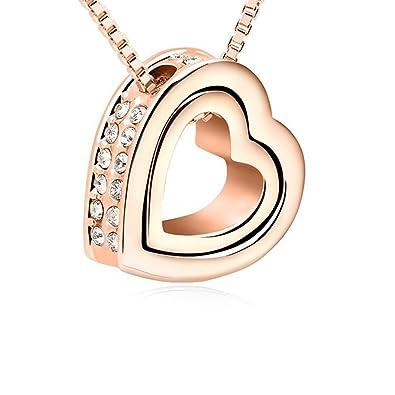 luxuriant dans la conception en soldes bien pas cher Collier LOVE YOU FOREVER en cœur 18 carats plaqué or rose ...