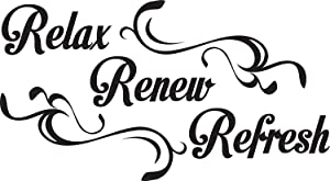 Empresal Wall Decal Quote Relax Renew Refresh Vinyl Sticker Home Decor Sign Words Lettering