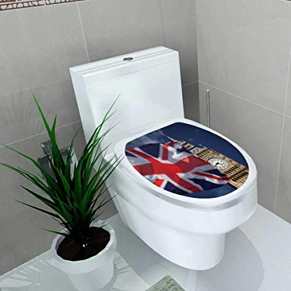 union jack toilet seat effect vanfan toilet seat sticker british union jack flag ben clock tower at city westminster waterproof decorative amazoncom