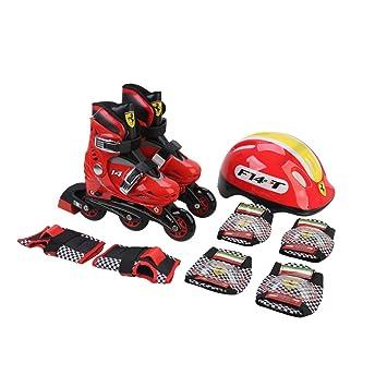 Ferrari FK7-1 Kit de Patines en Linea 4 Ruedas con Proteccion Casco Rodilleras Guantes para Niños, Talla 33 - 36, Rojo: Amazon.es: Deportes y aire libre