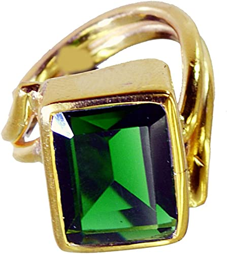 Jewelryonclick Yellow Gold Plated Emerald CZ Gemstone Pendants for Women Bezel Style Indian Gift Jewelry
