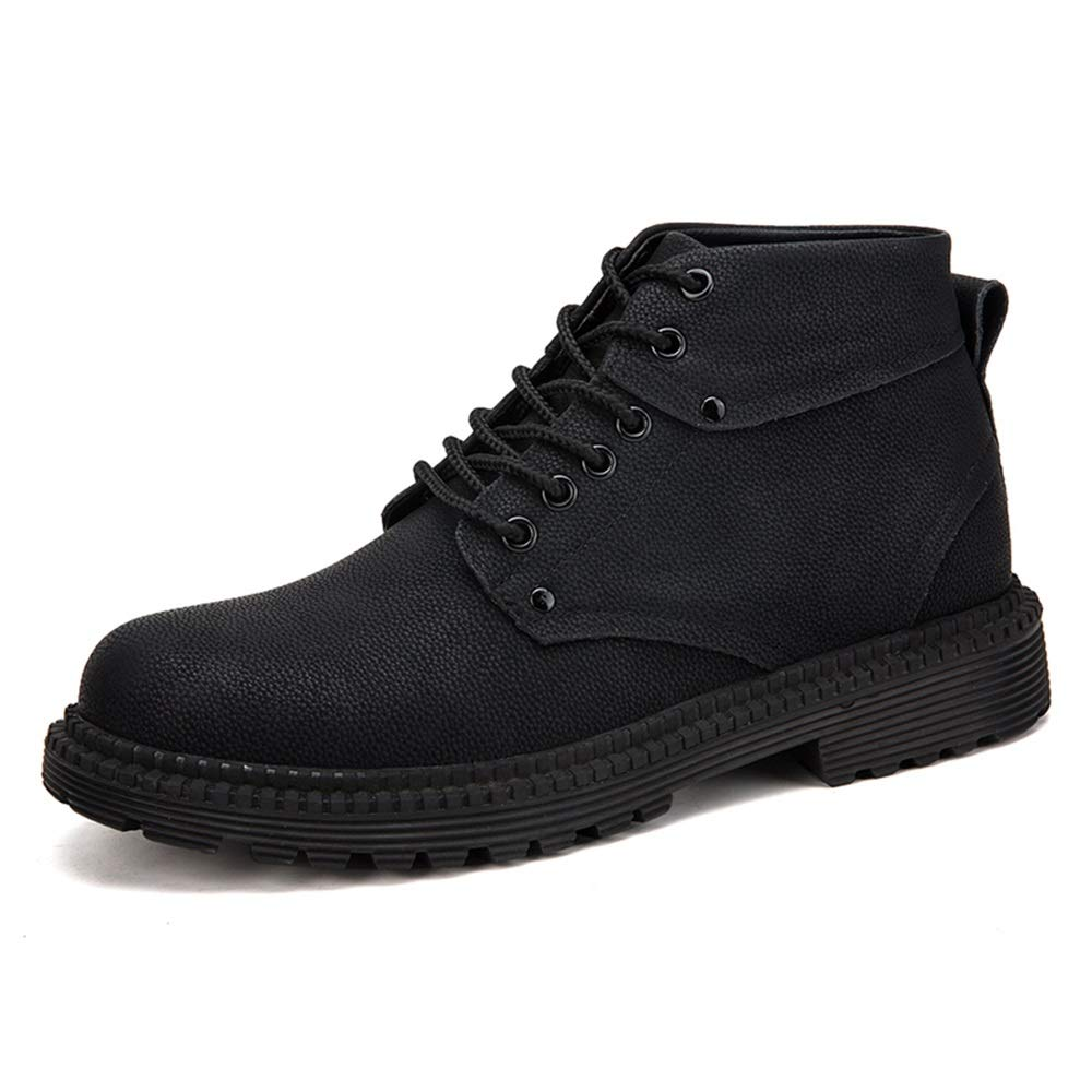 Black Men's Fashion Ankle Boots Casual Youth Classic British Style Winter Faux Fleece Inside High Top Boot Cricket shoes